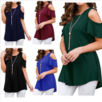 Womens Summer Cold Shoulder O Neck Tee Top Short Sleeve Blouse Casual T-Shirt