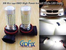 2pcs H11 H8 144-SMD High Power 1200LM 6000K White LED Fog Driving Light Bulbs