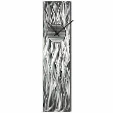 Modern Wall Clock Silver Home Decor Silver Metal Wall Art Abstract Kitchen Clock