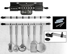 Kitchen Rack Hanging Rail With 6 Utensil Hooks Stainless Steel Utensil Holder