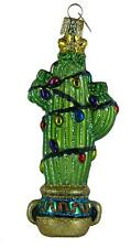 Cactus Ornament New Old World Christmas Blown Glass Green Lights Glitter Accents