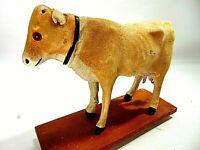 Vintage Victorian Cow Bull Pull toy Felt Body Antique German ? Christmas Creche