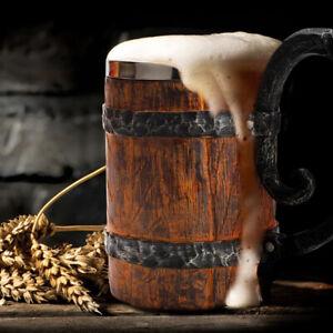 New Simulation Crude Wood Mug Double Wall Insulated Beer Cup Wine TumblerBDAUNI
