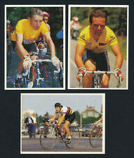 Lot x3 1985 Poulain Cycling Cards BERNARD HINAULT JACQUES ANQUETIL JEANNIE LONGO