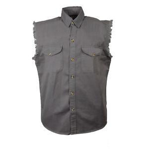 Milwaukee Performance Men's Grey Lightweight Sleeveless Denim Shirt  - DM4004