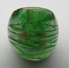 Murano Style Glass Ring.Uk.Q.Us.8.(44!) A Silver/Gold Spots Over Green