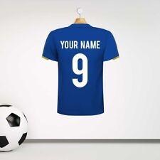 Azul Personalizado Camiseta De Fútbol Pared Adhesivo con su nombre y número