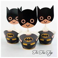 🦇12x Batman Cupcake BIG Topper + Wrapper. Party Supplies Lolly Loot Bag Bunting