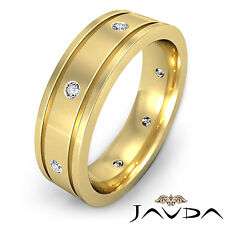 Diamond Mens Ring 18k Yellow Gold Flat Edged Eternity Wedding Solid Band 0.20Ct