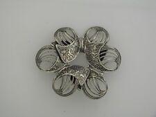 Vintage Beau Sterling Silver Filigree Modernist Pin Brooch