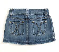 Hurley Jean Mini Skirt Frayed Hem Studded Denim Cut Off W27 Size 1