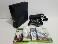 Xbox 360 S 250gb Black Console Slim with Controller + 4 Games Bundle