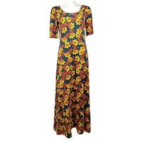 LULAROE Orange Red Floral Short Sleeve Long Maxi Ana Dress Womens Size M Medium
