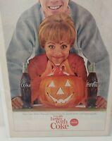 Coca Cola Vintage October 1964 Coke Soda Halloween Couple Pumpkin Print Ad Decor