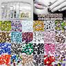 300pcs 1.6mm-4mm Round Acrylic Rhinestones Crystal Flat Back Beads Gems Nail Art