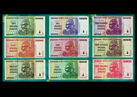 100 Million to 10 Trillion Zimbabwe Dollars Set of 9 Different Banknotes AA 2008