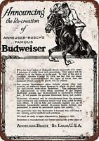 """1919 Budweiser and Prohibition Vintage Retro Metal Sign 8"""" x 12"""""""