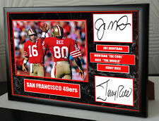 "Joe Montana & Jerry Rice Framed Canvas Portrait Signed ""Great Gift"""