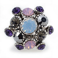 Vintage Art-Decot Bouquet Austrian Crystal CZ 18K WGP Alloy Ring Size 7,8,9