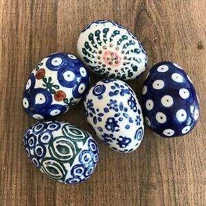 5 x Hand Painted Polish Pottery Boleslawiec Decorative Eggs