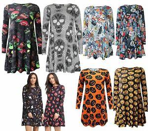 Ladies Halloween Long Sleeve Skull Pumpkin Spider Printed Swing Dress UK 8-30