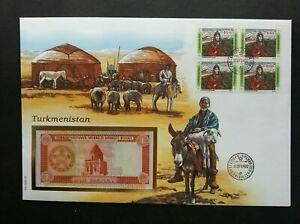 [SJ] Turkmenistan Livestock 1994 Goat Ram Horse Farm Animal FDC (banknote cover