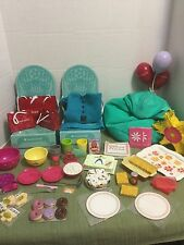 """American Girl 18"""" Doll Birthday Party Lot Treats Food Cakes Games Balloons More"""