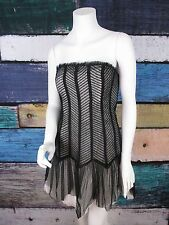 Forever 21 Size 10 Black White Steampunk Lace Goth Cosplay Tulle Prom Mini Dress