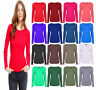 Women Long Sleeve Round Neck Plain Basic Ladies Stretch T-Shirt Top Size UK 8-26