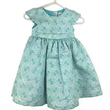 Dressed Up by Gymboree Dress Girls 4T Aqua Silver Floral Print Party Formal
