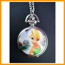Princess Tinkerbell Child Women Ladies Fashion Pocket Pendant Necklace Watch