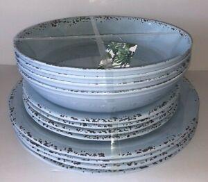x12 TOMMY BAHAMA Melamine DINNERWARE SET Light Blue RUSTIC Plates Bowls NWT