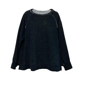Calvin Klein Performance Sweatshirt Womens 1X Black White Splattered Embroidered