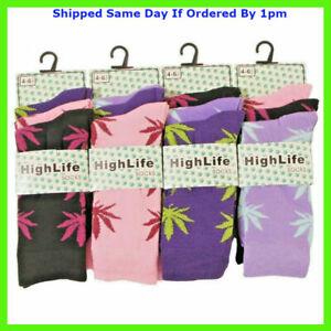 Ladies Socks 3 Pairs Novelty Cannabis Leaf Ganja Marijuana Casual Adults 4-6.5