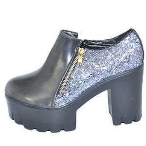 Scarpa stivaletto donna grigio con glitter argento zeppa platform con gomma ligh