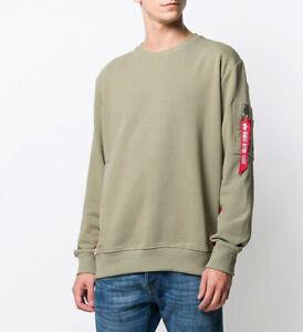 Alpha Industries Remove Before Flight NASA Mens Sweatshirt GREEN Size M