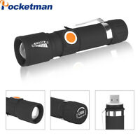 USB Rechargeable LED Flashlight Super Bright 3 Modes Zoom Torch Light For Hiking