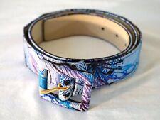 St. John Women's Designer Belt, Blue Print, Size 16