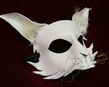 GATTO BIANCO MASCHERA PELLE a mano VENEZIANO Masquerade