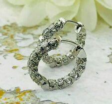 Fine Earrings Hoop Inside Out Women's Earrings 14K White Gold 4 Ct Round Diamond
