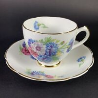 Vintage Duchess Bone China Footed Tea Cup and Saucer Set Floral with Gold Trim