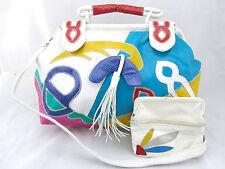 VINTAGE 80's Multi-Color Art Croc Fringe Vegan Faux Leather Crossbody Purse Bag