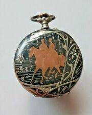 Longines Pocket Watch open face silver & enamel niello case 1903