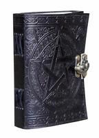 5,,Handmade Black Pentagram Leather Journal Pentacle Witchcraft Book of Shadows
