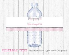 Modern Pink Chevron Water Bottle Labels Printable Editable PDF