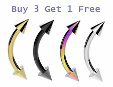 10mm x 1.2mm Curved Steel Bar Eyebrow Spike Bar Nipple Web Ring Piercing Stud