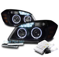 05-10 CHEVY COBALT HALO LED BLACK PROJECTOR HEADLIGHT W/DRL+6000K HID LEFT+RIGHT