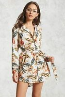 Forever 21 Satin Floral  Printed Shirt Dress Medium M