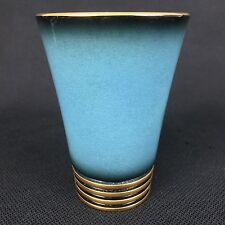 "Carlton Ware Bleu Royal  5 1/2"" Tumbler Vase? Blue Gold Cream Luster Art Deco"