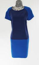 KAREN MILLEN Blue & Navy Short Sleeve Round Neck Casual Tunic Dress UK 12/40